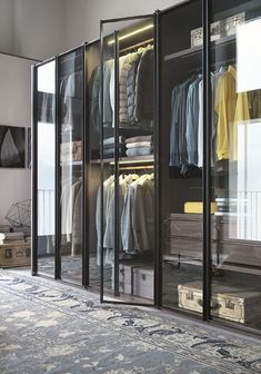 glass-closet-system by italian lema wardrobe The New Transparency: 7 Glass-Fronted Closets and Wardrobes - Remodelista Walk In Closet Design, Wardrobe Design, Closet Designs, Stockholm Design, Dressing Design, Front Closet, Entryway Closet, Apartment Bedroom Decor, Apartment Design