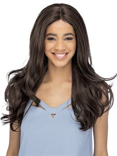 Lenora Wig by Vivica Fox: Extremely long layers with perfect wavy loose ends and a center part to frame the face. Synthetic Lace Front Wigs, Synthetic Hair, Swoop Bangs, Vivica Fox, Styling Brush, Loose Ends, Hair Pieces, Hair Extensions, Hair Care