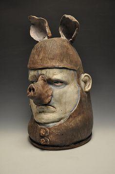 Thaddeus Erdahl Ceramic Figures, Ceramic Art, Ceramic Sculpture Figurative, Advanced Ceramics, Donnie Darko, Ceramic Techniques, Ceramic Animals, Contemporary Sculpture, Animal Heads