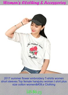 2017 summer flower embroidery T-shirts women short sleeves Top female harajuku woman t shirt plus size cotton women's Clothing