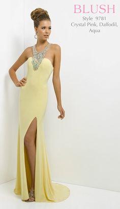 2015 Beaded Yellow Open-Back Blush 9781 High Split Long Prom Dress Homecoming Dresses For Sale, Unique Prom Dresses, Pretty Dresses, Long Dresses, Dress Long, Elegant Dresses, Beautiful Dresses, Blush Prom Dress, Blush Dresses
