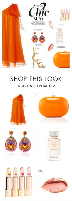 """outfFit"" by dorachelariu ❤ liked on Polyvore featuring Dice Kayek, Jeffrey Levinson, Ranjana Khan, Tory Burch, Urban Decay and WithChic"