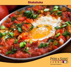 Loaded with fresh tomatoes and peppers, Shakshuka is a Middle Eastern dish that is typically served for breakfast. Spicy and sweet, this recipe will take your tastebuds on a first-class journey, without ever leaving your kitchen. Yes, it's great as breakfast or brunch fare, but we love it equally for dinner, served with a salad and crusty bread.