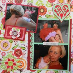 Baby Album 1 Inspiration: Meeting our granddaughter.  The heart and corners are from Cricut's Storybook. I used an ek success border punch on a photo mat. (R)
