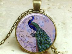 Victorian peacock pendant Victorian peacock necklace by Aranji