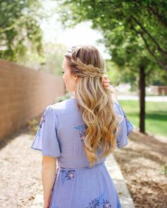 Half Up French Braid Crown  and some more Easter dress inspo! Hair tutorial link in my profile! Dress  details here  http://liketk.it/2qUwm #liketkit #missysueblog