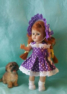 LITTLE DOT dress and hat fit Ginny Madam Alexander Wendy Muffie Pam Ginger #Unbranded