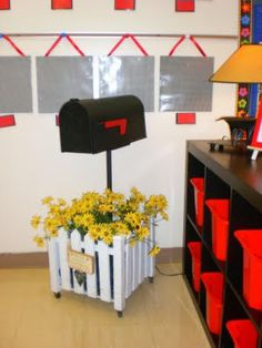 "use the mailbox for ""students of the week"" all of the other students would write nice, encouraging notes to that student. It would also be helpful in the way of teaching respect toward other students. Classroom Setting, Classroom Setup, Classroom Design, Classroom Displays, Preschool Classroom, Future Classroom, Kindergarten, Library Displays, Classroom Activities"