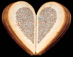 Heart shaped book of hours from the 15th century, Amiens, Picardy, France.  Original from Bibliothèque nationale de France.