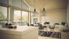 meubles salle à manger modernes, tapis exotique et lampes suspension design