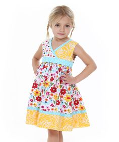 Jelly the Pug Yellow & White Spring Bling Abbey Dress - Toddler & Girls Toddler Girl Dresses, Little Girl Dresses, Toddler Girls, Girls Dresses, Cute Outfits For Kids, Cute Girls, White Springs, How To Make Clothes, Sewing For Kids