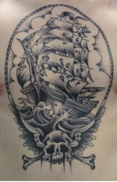 Ship with Skull Tattoo by The Gus http://tattoopics.org/heart-ship-with-skull-tattoo-by-the-gus/