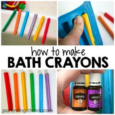 Learn how to make homemade bath crayons with this simple tutorial. Your kids will have a blast making and playing with these homemade tub colors! How To Make Homemade, Homemade Gifts, Homemade Paint, Homemade Soap For Kids, Diy Crafts For Kids, Fun Crafts, Crafts For Babies, Bath Crayons, Diy Crayons