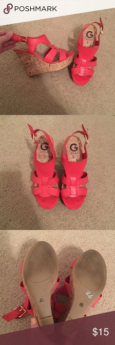 G by Guess coral wedges, size 6.5 G by Guess coral wedges, size 6.5. Only worn a hand full of times! G by Guess Shoes Wedges