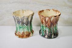 Pair of Antique Vintage Majolica Green Brown Purple Blue Vases Planters