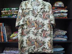 Vintage Hilo Hattie Hawaiian Shirt Eugene Savage Matson Lureline menu cover Cotton Rayon Size XL