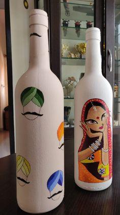 Wine Bottle Art, Plastic Bottle Crafts, Wine Bottle Crafts, Painted Glass Bottles, Indian Theme, Pottery Painting Designs, Bottle Painting, Diy Canvas Art, Drawings