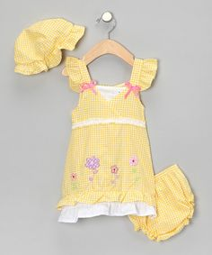 This is so cute! Take a look at this Yellow Floral Dress Set  by Coney Island Kids on #zulily today!
