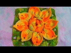 Flor de crochê para aplicação em tapetes por Sil Emídio Crochê square #19 - YouTube