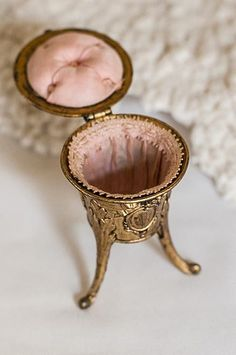 Antique French Pink-Lined Trinket Box