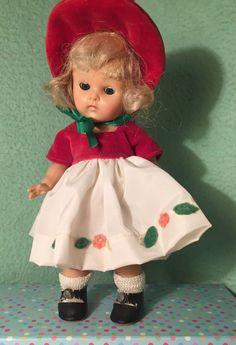 Vintage Vogue Ginny Doll, Holly Belle Christmas Dress, Strung, Transitional 1951 #Vogue