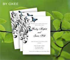 EDITABLE Wedding invitation template black floral pattern by Oxee, $8.00