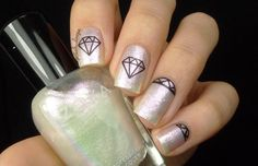Diamond Geometric Nail Art Unicorn Skin Holographic Shifting Iridescent Nails Shimmer Glitter