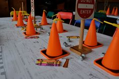 adorable idea for tablecloth for construction party