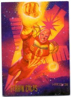27-Ferrin Colos    Ferrin Colos, sobreviviente asotado del mundo Zamba, lleva la armadura de batalla de la fuerza policíaca intergaláctica, los Darkstars. Ayudado por los diputados Mo Douglas y Carla White, Colos protege su sector asignado – la Tierra – de las amenazas humanas y extraterrestres. Con la caída del Cuerpo de Linternas Verdes. El papel de los Darkstars como protectores del universo ¡es más importante que nunca!