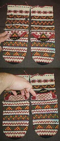 Traditional woollen women's socks.  From Bulgaria, 20th century.  Ethnic group: Karakatsani.