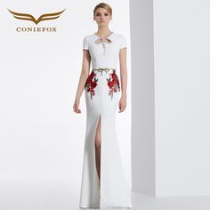 8de24a9e2fdd comCONIEFOX 31629 white embroidery Fashion sexy Ladies birthday Appliques prom  dresses party evening dress gown long Xmas dress