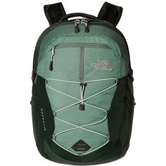 The North Face Women's Borealis (Balsam Green Heather/Wrought Iron)... ($63) ❤ liked on Polyvore featuring bags, backpacks, strap backpack, green backpack, mesh backpack, mesh bag and padded laptop backpack