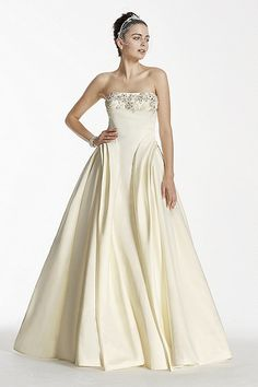 Strapless Satin Ball Gown with Crystal Beading CWG702