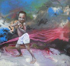 Gambia boy Acrylic 40x40 cm