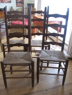 Antiques Objective Antique Set 4 Wood Ladder Back Rush Seat New England Farm Table Dining Chairs