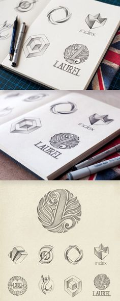 really like the 'L' logo type- beautiful visual element and logotype underneath. The illustration almost detail is vey beautiful on the eye. Could either re-create this look, or could just re-create a logotype without a main symbol element aswell Typography Logo, Typography Design, Logo Branding, Lettering, Graphisches Design, Best Logo Design, Icon Design, Design Concepts, Game Design