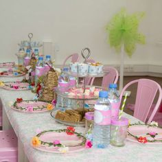 Pretty table at a fairy birthday party! See more party ideas at CatchMyParty.com!
