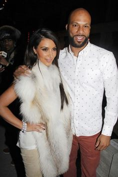 Kim Kardashian and Common at the Kanye West AW12 Show in Paris