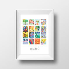 Kids artwork display as a contemporary collage poster.  Ideal for kids rooms, your office, or grandma's house.  A collection of your favorite arts project and crafts showcased on a unique display create from your child's artwork.  Best creative gifts for kids, parents or grandparents a true keepsake.