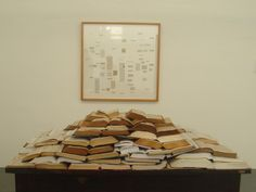 Atrás da Liberdade (2010) by Rosana Ricalde (http://www.rosanaricalde.com). The definition of freedom was carefully cut from dictionaries in various languages. The extracted texts were then framed and displayed behind the stacked source books. [ #books #installation ]