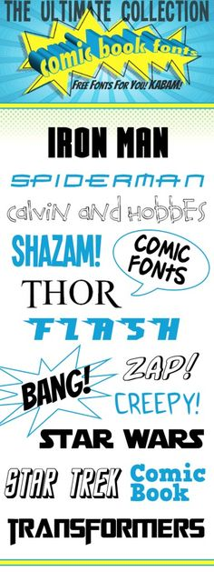 Comic book fonts. Great collection.