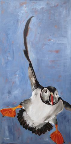 """Penguins Can't Fly - Unless They're Kappas,"" by D.J. Stone, oil, 18""x48."" www.djstoneart.com."
