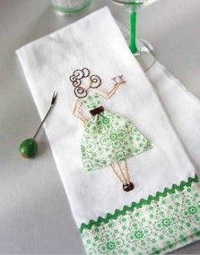Craft Ideas : Projects : Details : happy-hour-tea-towel Totally inspired! I have sketches of a couple girls to do like this...I will have to get on it! soo cute