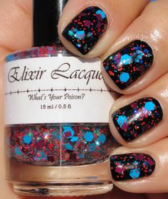Elixir Lacquers - Kandy Krusher [over black] (Roller Derby Ruckus Collection Winter 2013) / KellieGonzo