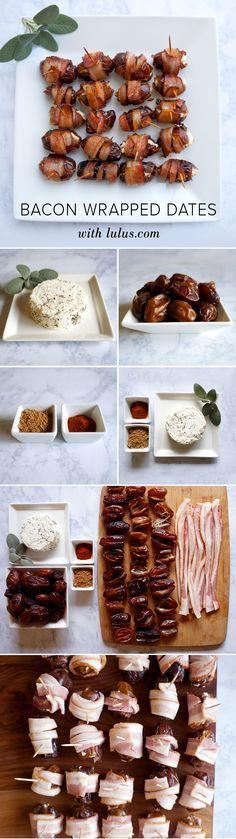 Bacon Wrapped Dates Stuffed with Goat Cheese Recipe Tipp: Wenn man getrocknete Datteln nimmt, kann man sie vorher in Orangensaft und trockenem Sherry einlegen. Danach mit Speck umwickeln und anbraten. Auch den Sherry und O-Saft-Mix in die Pfanne geben.