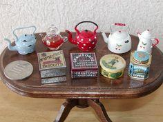 Mini tea pots and cookie tins