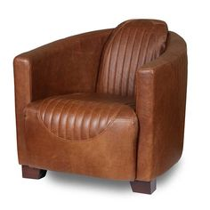 Spitfire Cerato Brown Leather Armchair side view