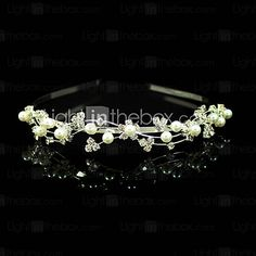 Gorgeous Clear Crystals With Imitation Pearl Wedding Bridal Headband