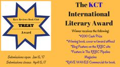 Our Rave Reviews Book Club is going from strength to strength and is running a brand new competition this year: The KCT INTERNATIONAL LITERARY AWARD, named in honour of the late Kathryn C. Treat, w…