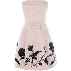 Karen Millen Placed sequin flower prom dress (120 AUD) ❤ liked on Polyvore featuring dresses, vestidos, short dresses, robes, ivory, sale, women, beaded cocktail dress, short prom dresses and pink sequin dress
